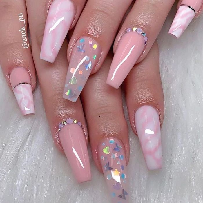 long coffin nail shape short acrylic nails pink nail polish marble decorations with rhinestones