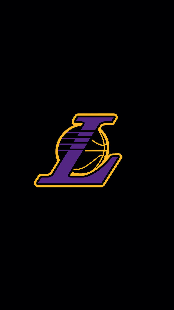 los angeles lakers logo in purple and gold drawn on black background anthony davis wallpaper
