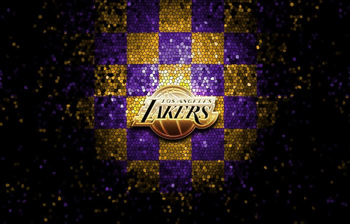 los angeles lakers logo in the middle cool nba wallpapers mosaic checkered purple and gold background