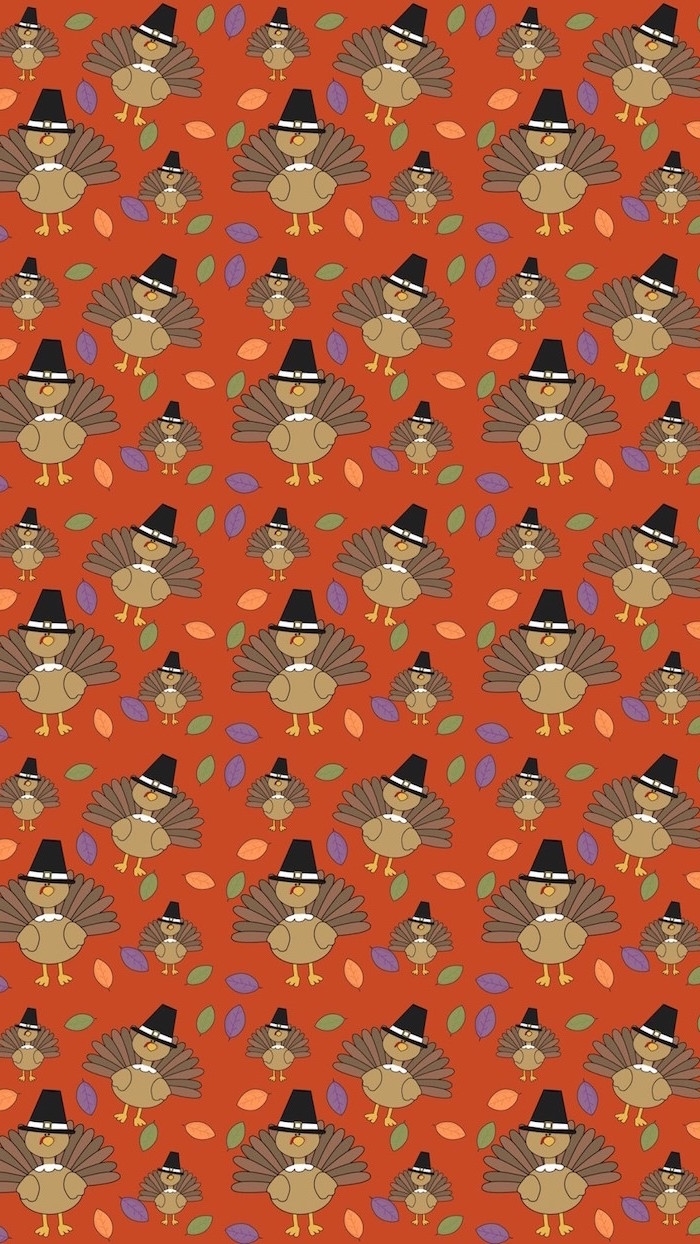 lots of turkeys drawn on dark orange background free thanksgiving wallpaper drawings of small leaves