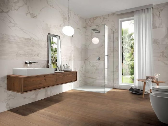 marble tiles on the walls wooden tiles on the floor bathroom tile ideas wooden floating vanity