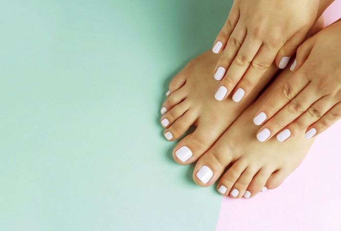 matching manicure and padicure in light pink cute nail designs mint green and pink background
