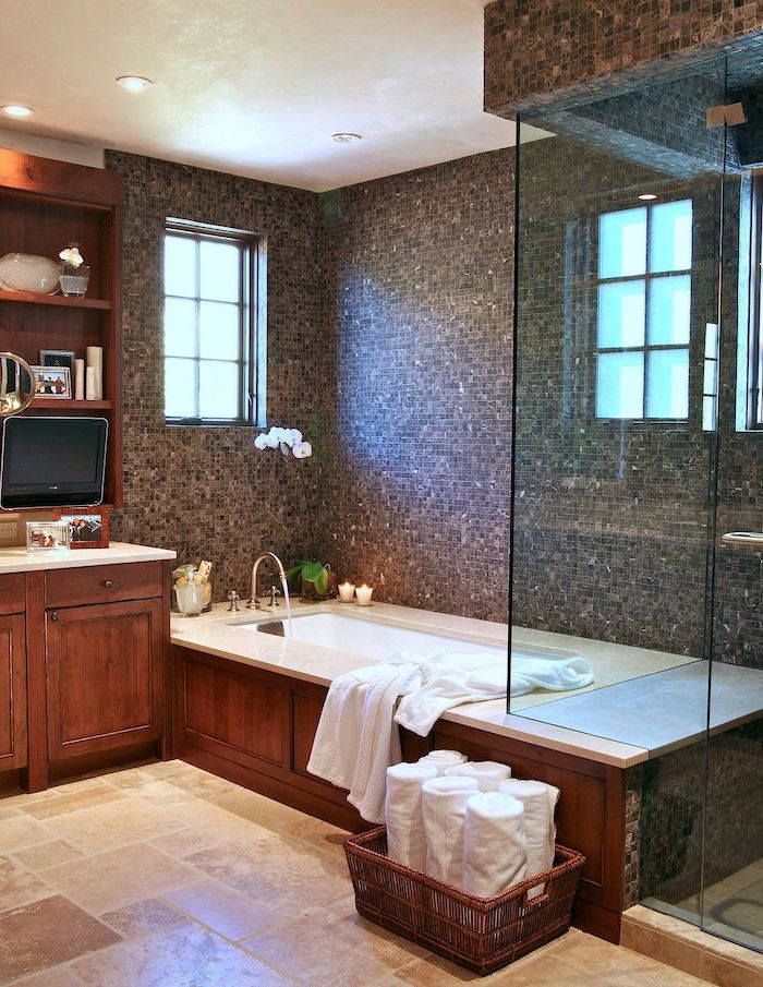 mosaic accent wall around the bath and shower cabin rustic bathroom decor tiles on the floor wooden vanity