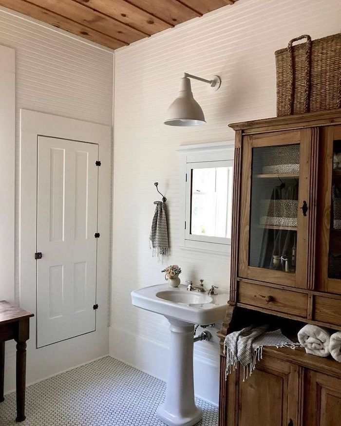 mosaic black and white floor country bahtoom ideas wooden cabinet white shiplap on the walls wooden ceiling