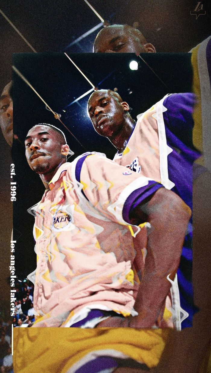 nba background photo of kobe bryant shaquille oneal on the court wearing lakers uniforms