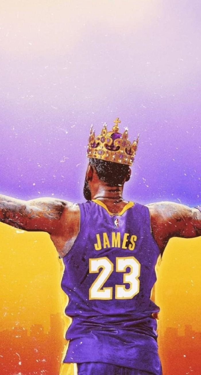 nba wallpaper iphone lebron james wearing purple lakers uniform crown on his head purple and gold background