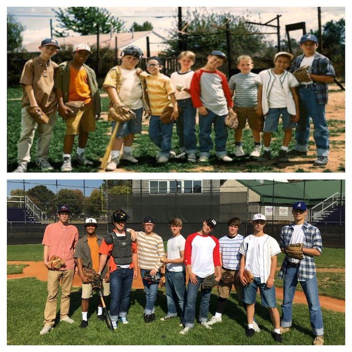 nine men dressed as the characters from the sandlot group halloween costumes for work photographed on baseball field