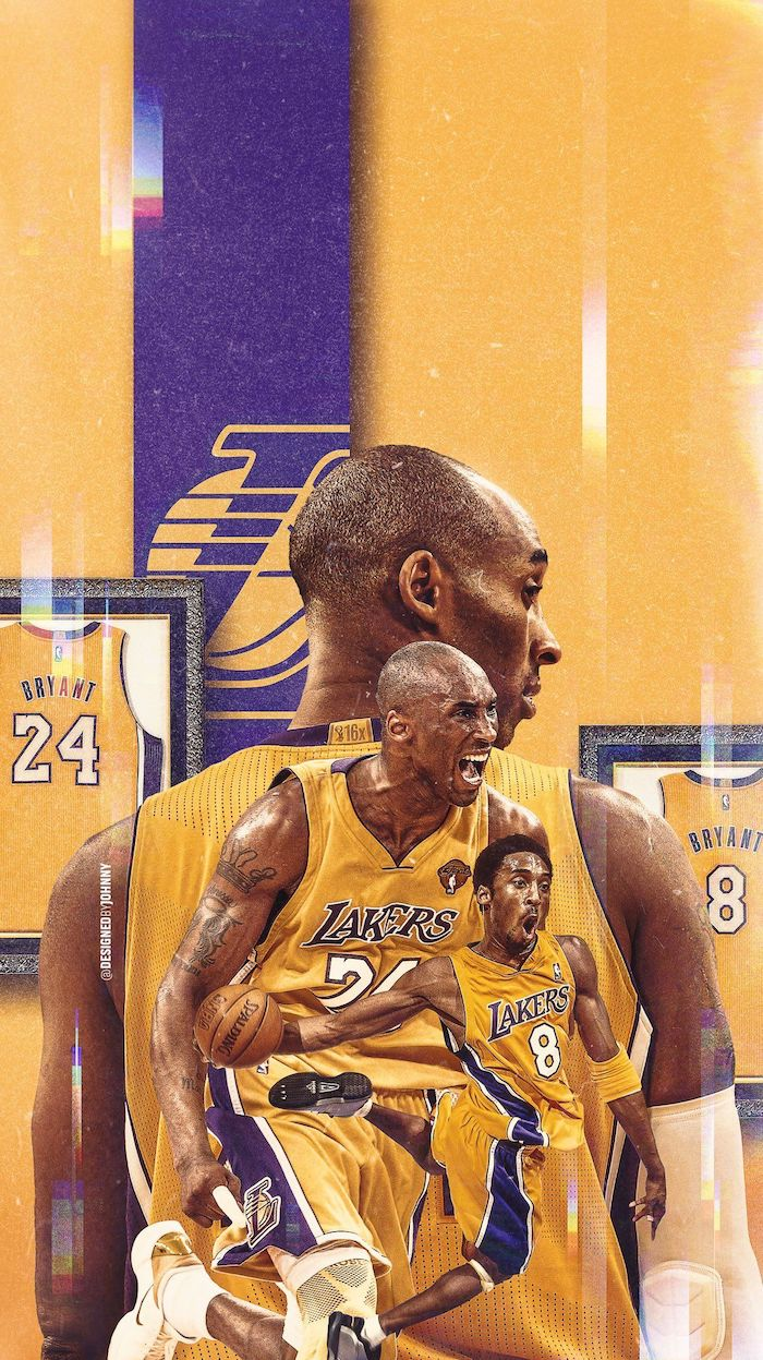 photo collage of kobe bryant from the court wearing gold lakers uniforms best basketball wallpapers jerseys in frames in the background