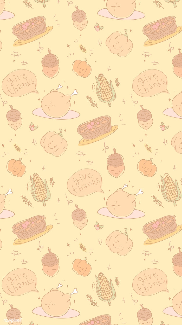 pies turkeys pumpkins corn drawn on yellow background thanksgiving desktop backgrounds give thanks