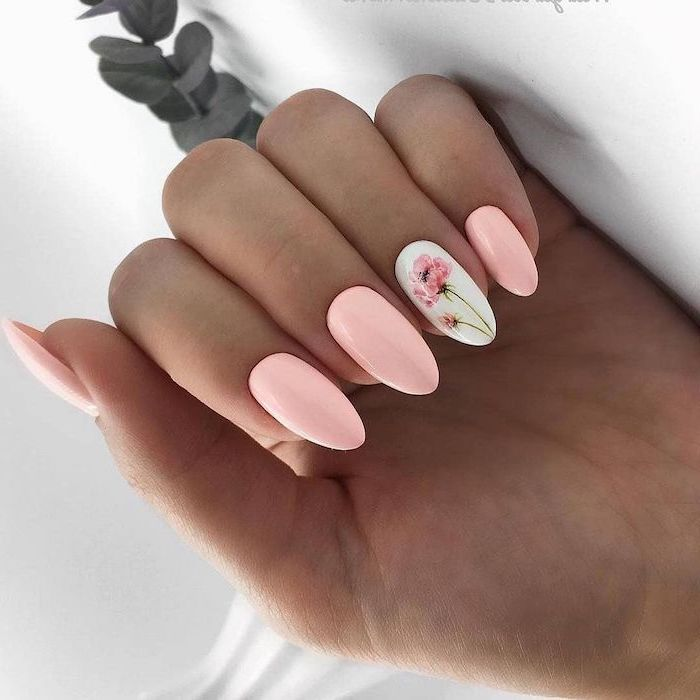 pink nail polish on long almond nails cute nail ideas white nail polish peony flower decoration on ring finger