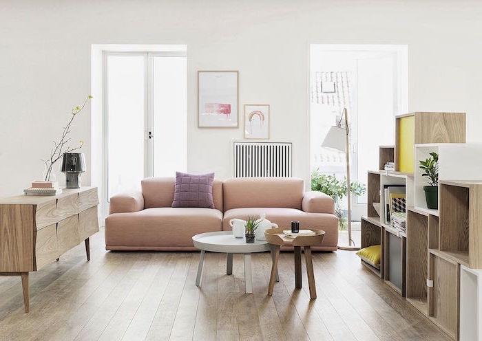 pink sofa with purple throw pillow scandinavian design living room two wooden coffee table bookshelf cupboard wooden floor