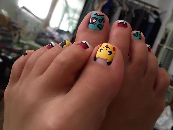 pokemon pedicure almond shaped nails different pokemon character drawn on each nail