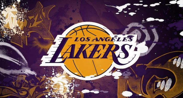 purple and gold background with grafitti lebron james wallpaper los angeles lakers logo in purple and gold in the middle
