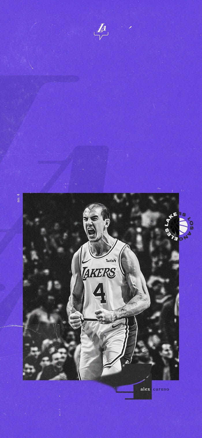 purple background best basketball wallpapers alex caruso wallpaper photographed on the court wearing lakers uniform