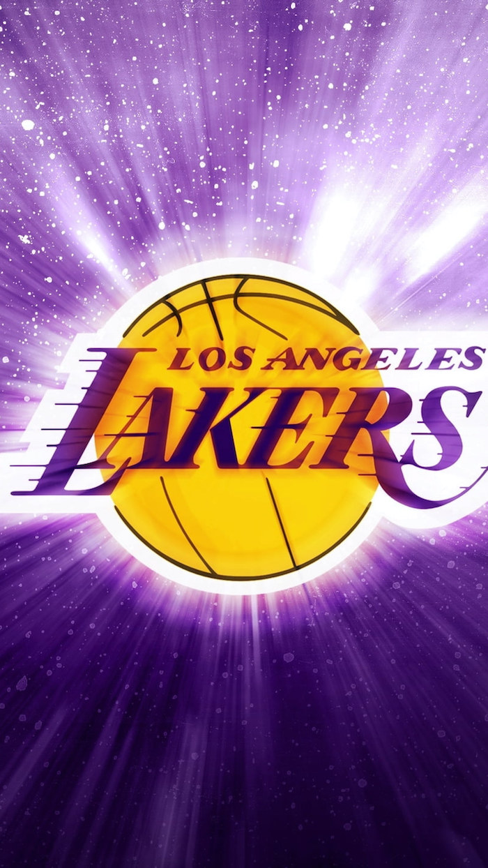 purple background nba background los angeles lakers logo in the middle drawn on purple and gold