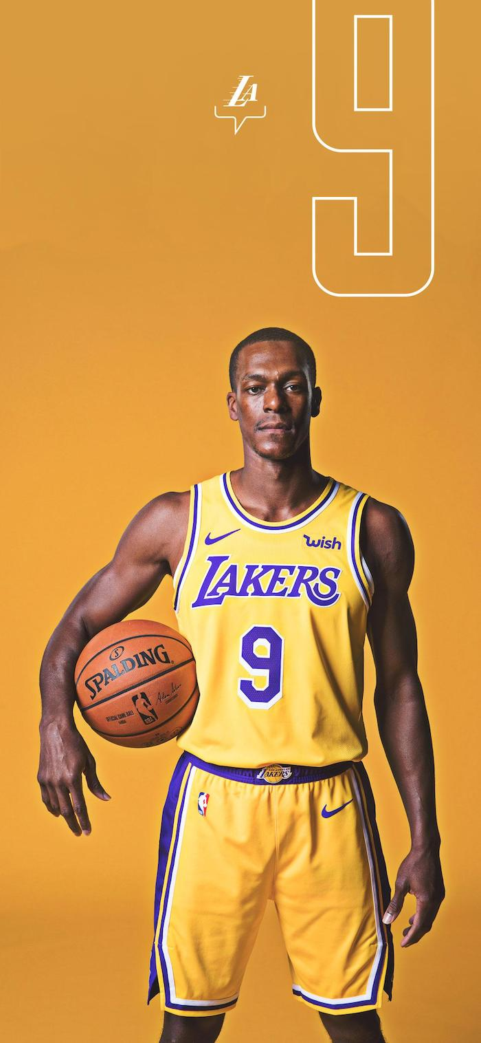 rajon rondo wallpaper lakers wallpaper iphone wearing gold lakers uniform holding basketball on yellow background