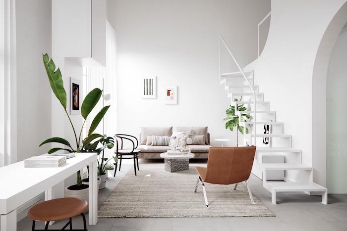 scandinavian design living room brown leather armchair gray sofa beige caroet on tiled floor