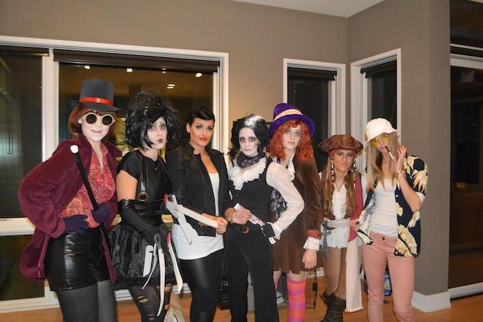 seven women dressed as different famous johnny depp characters cute group halloween costumes