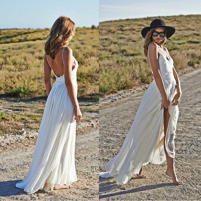 side by side photos of blonde woman wearing flowy wedding dress made of tulle with lacy top walking barefoot