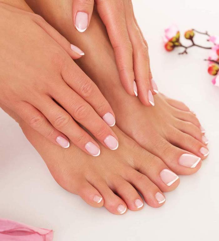simple nail designs matching manicure and pedicure nude nail polish with white french manicure