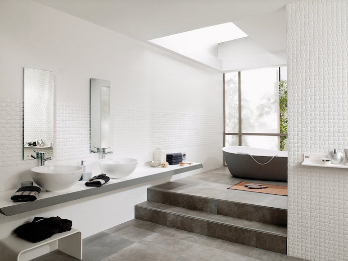 small square mosaic accents on the white walls bathroom floor tile ideas dark gray tiles on the floor floating vanity