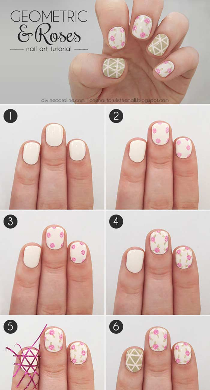 step by step diy tutorial summer acrylic nail designs drawing roses on your nails on white nail polish