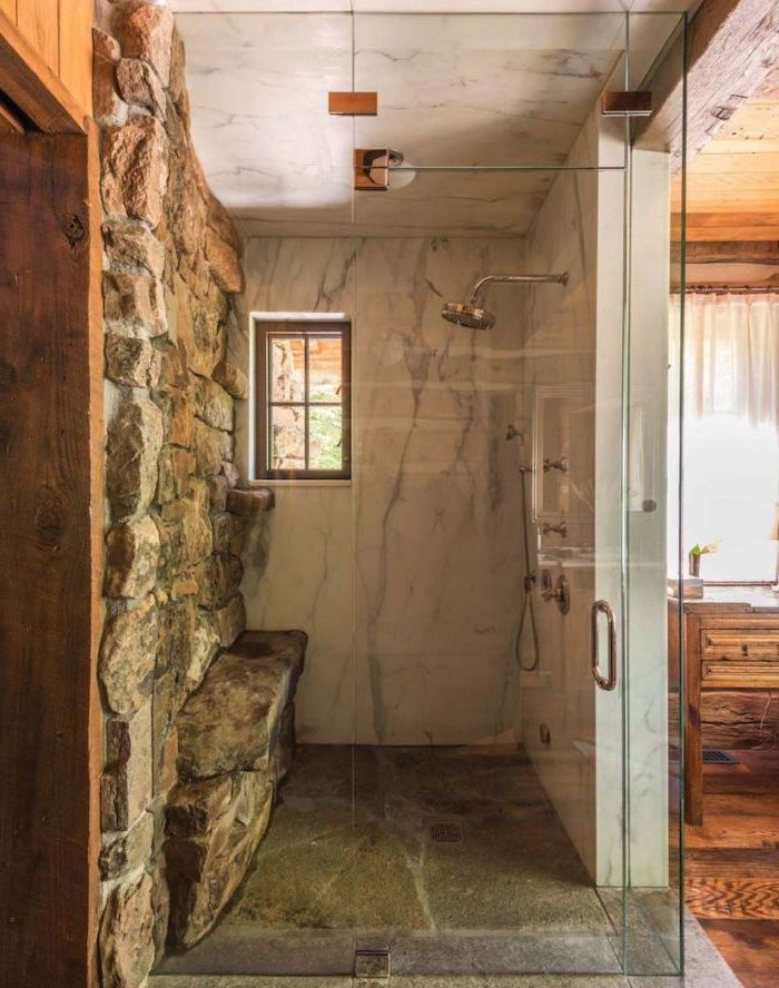 stone wall under the shower marble on the walls and ceiling farmhouse bathroom wall decor shower behind glass doors
