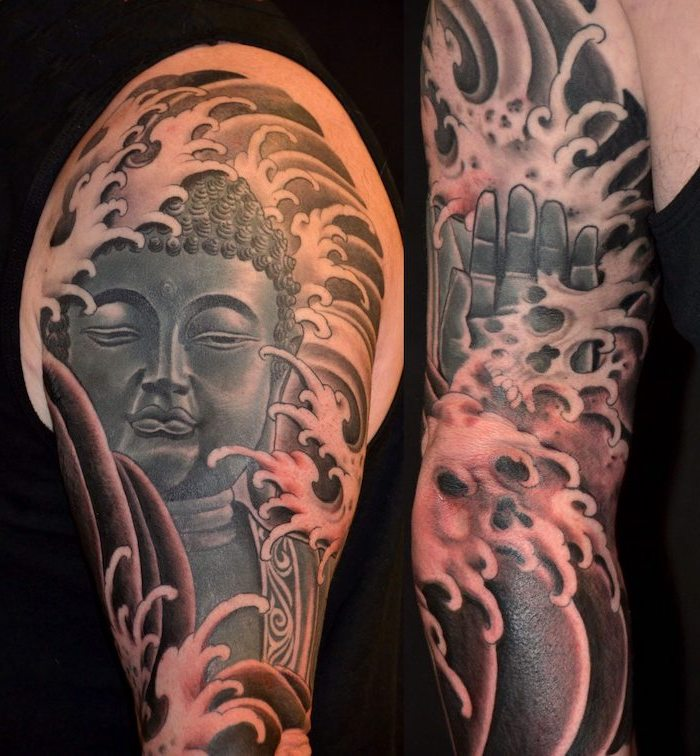 symbols with deep meanings buddha sleeve tattoo with skulls on man wearing black top black background
