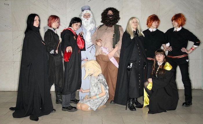 ten people dressed as characters from harry potter halloween costume ideas for girls snape dobby hagrid fred george
