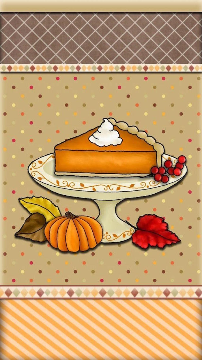 thanksgiving wallpaper hd drawing of pumpkin pie slice on cake stand with pumpkin cranberries fall leaves