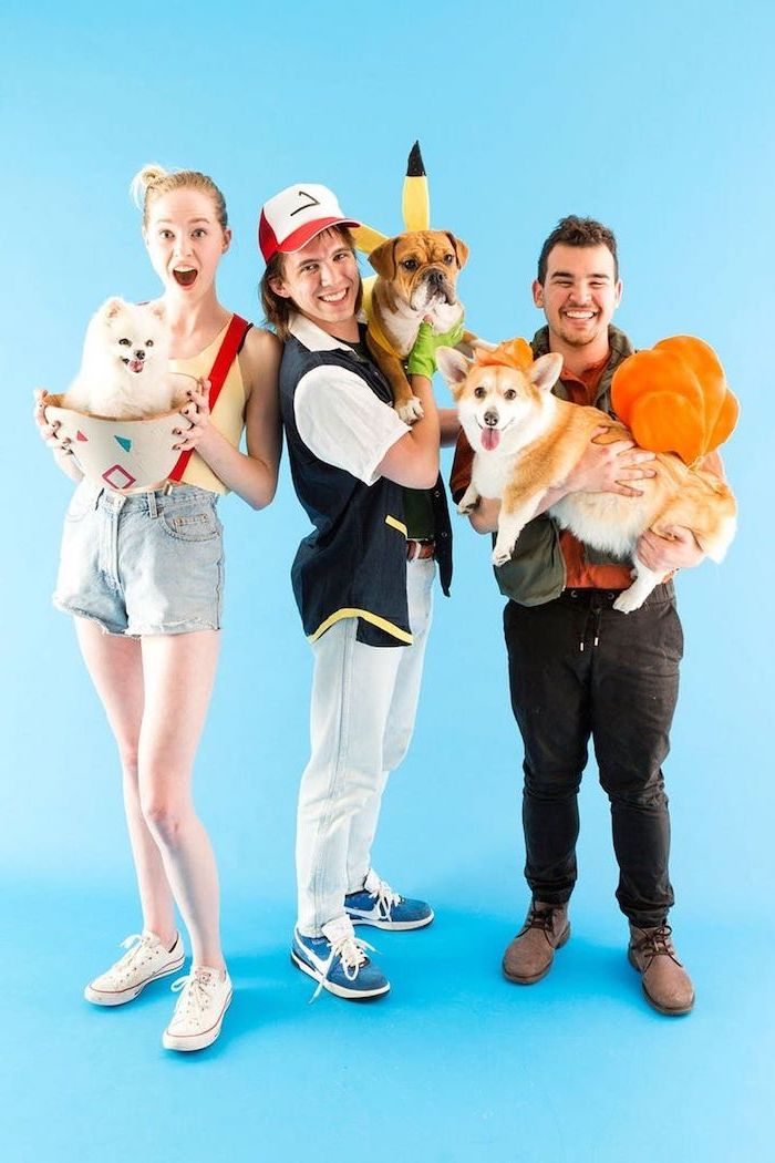 three people dressed as pokemon characters group halloween costumes dogs disguised as pokemons