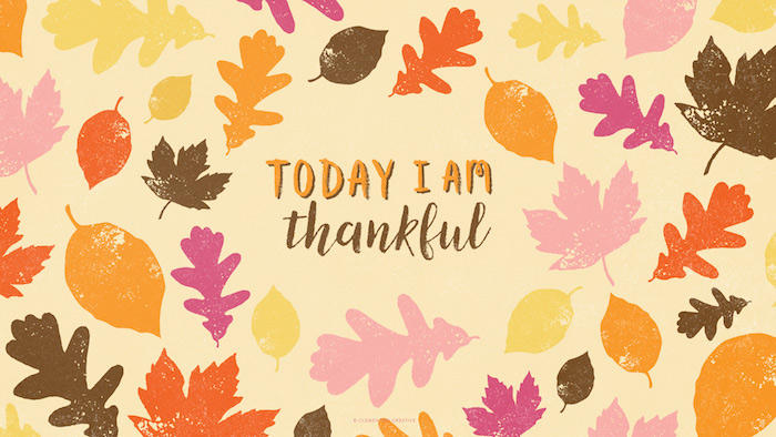 today i am thankful written in the middle of yellow background thanksgiving wallpaper drawings of fall leaves around it