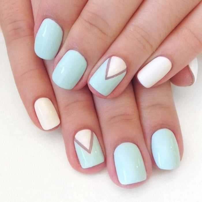 white and blue nail polish acrylic nail designs blue and white geometric decoration on the ring fingers on short square nails