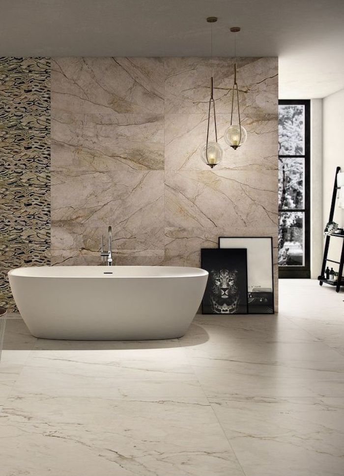 white bathtub bathroom backsplash ideas beige and gold tiles with pattern behind it bathroom backsplash ideas marble tiles on the floor