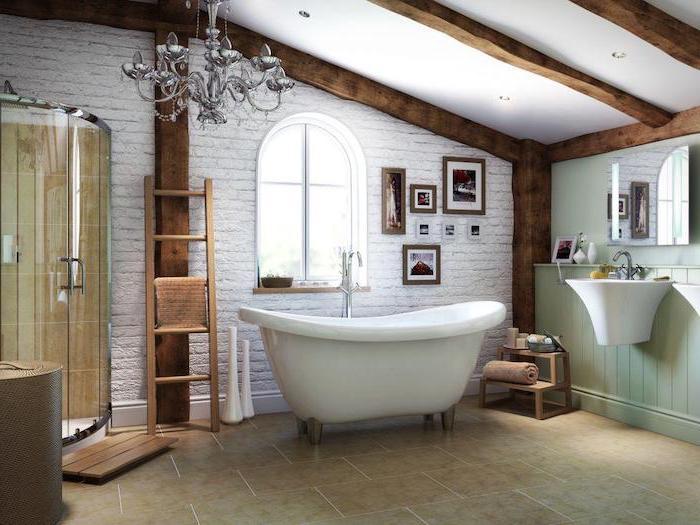 white brick wall behind bath tiled floor farmhouse bathroom shelves exposed wood beams on the ceiling shower cabin