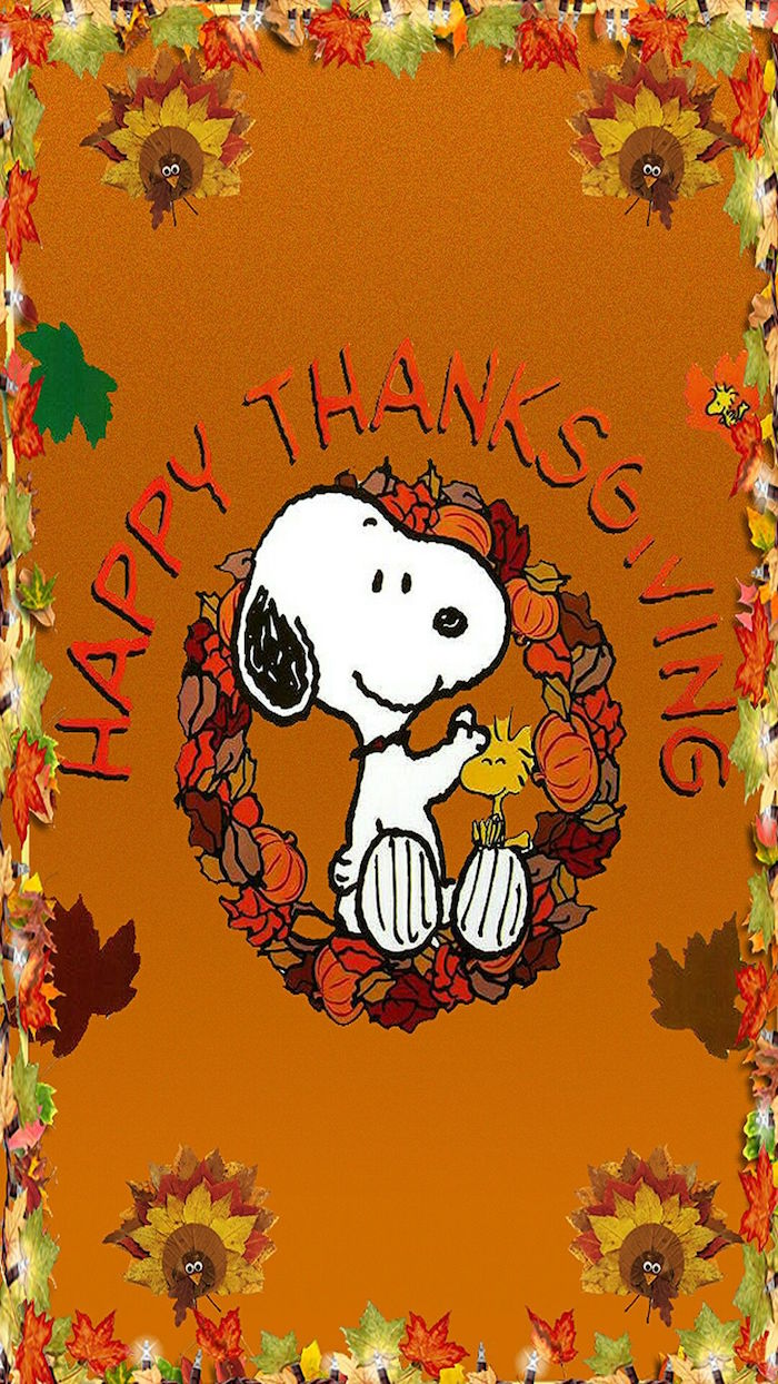 white snoopy drawing in the middle thanksgiving desktop backgrounds happy thanksgiving written in the middle on orange background