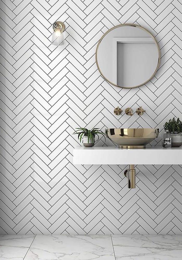 white subway tiles behind the sink best flooring for bathroom with marble tiles metal sink on floating vanity