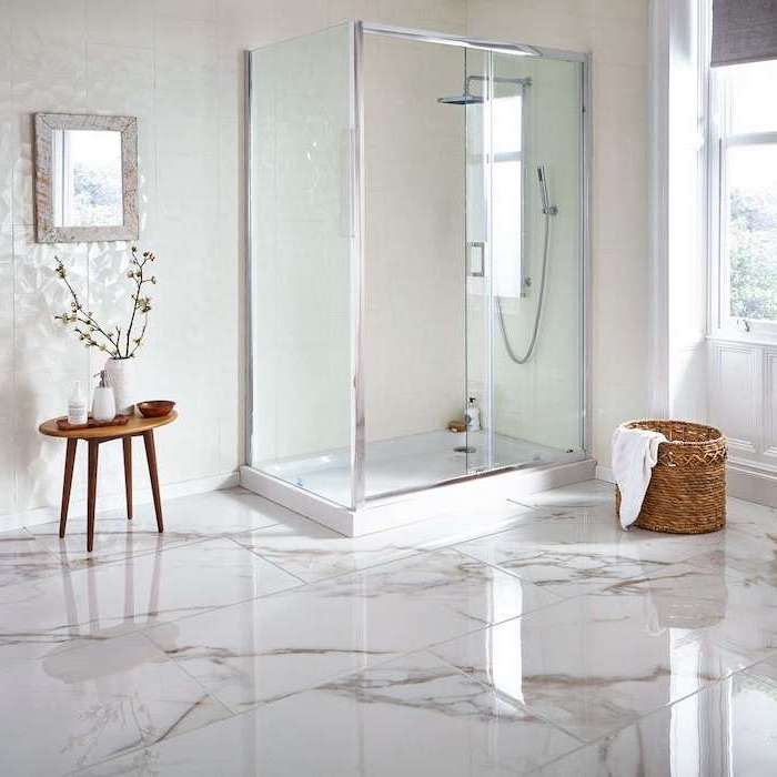 white tiles on the walls how to tile a bathroom floor marble tiles on the floor shower separated with glass