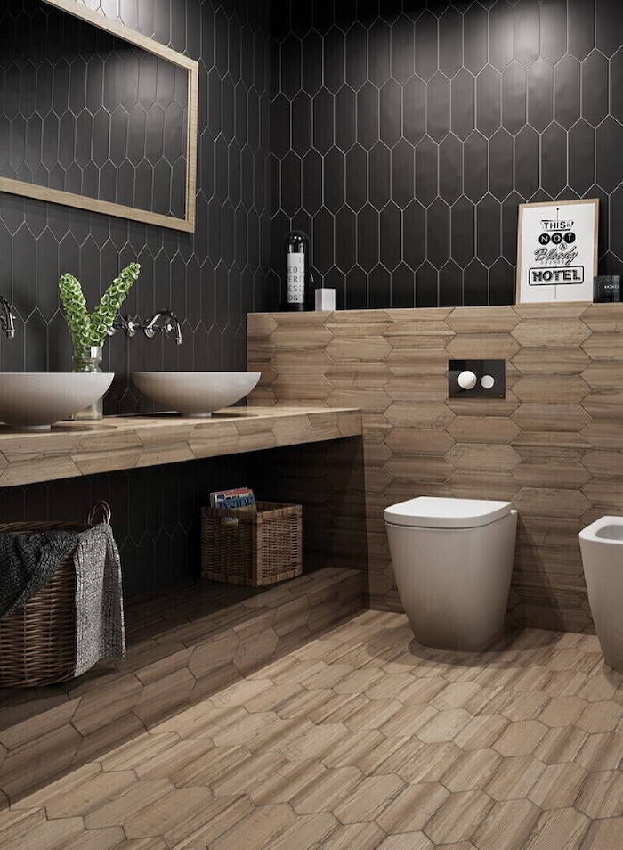 wooden like tiles on the floor and half the wall bathroom tile ideas black tiles on the walls mirror on the wall