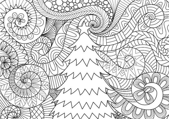 abstract background of drawing of christmas tree with star tree topper coloring sheets for kids black and white drawing