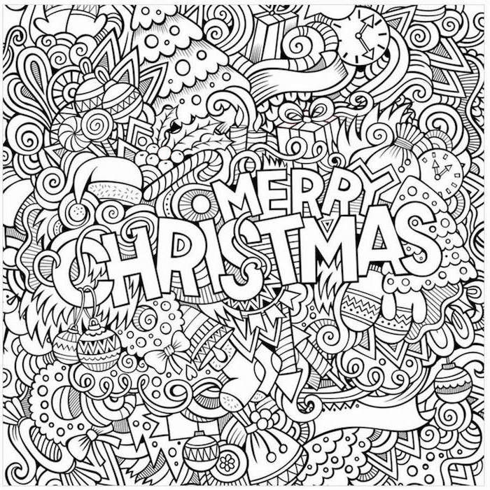 abstract drawing of different christmas objects and decorations free coloring pages for kids merry christmas written in white