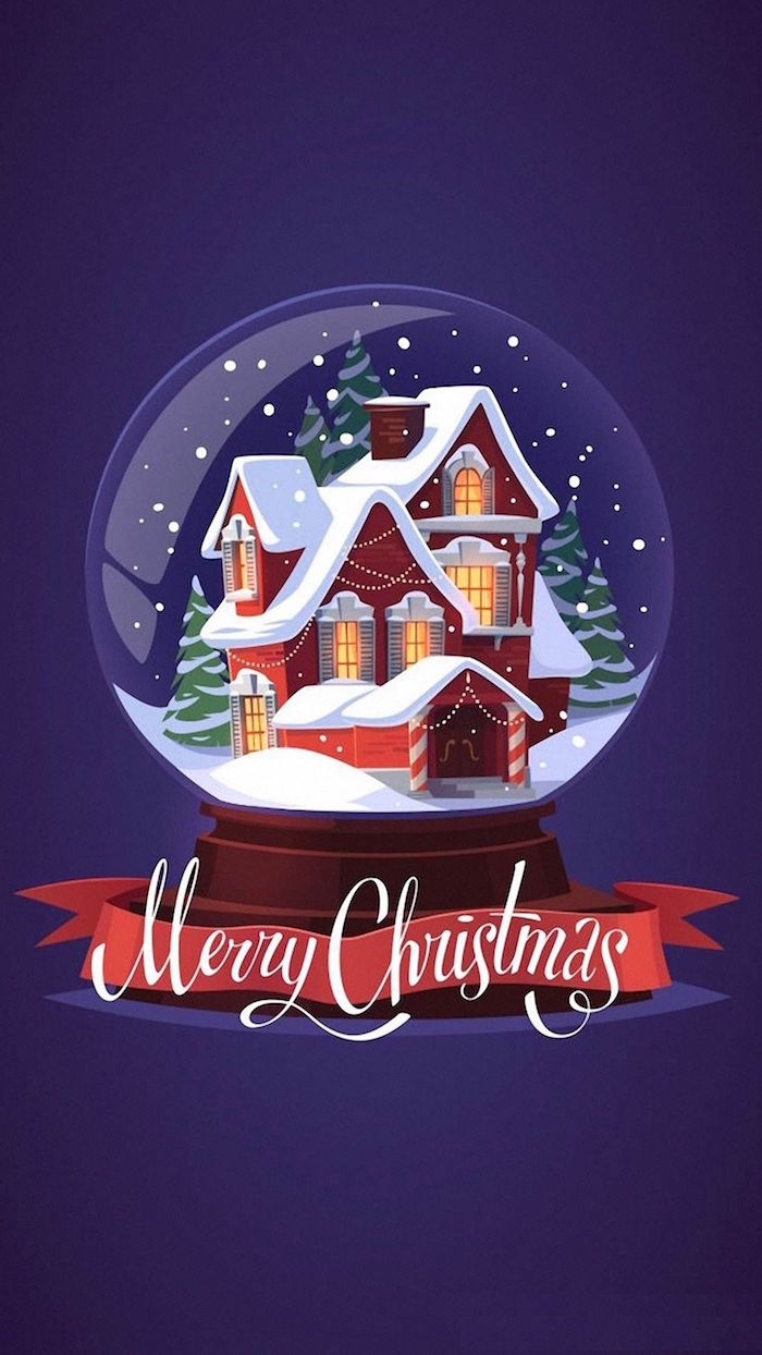 aesthetic christmas wallpaper digital drawing of snow globe with house inside covered with snow on purple background merry christmas written underneath