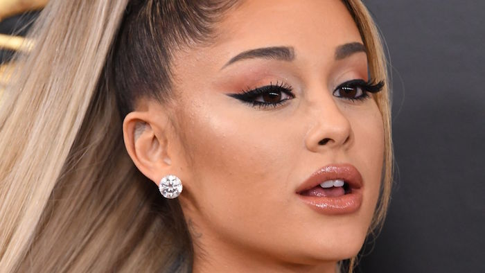 ariana grande wearing diamond earrings how to do winged eyeliner balayage hair in high ponytail brown lip gloss