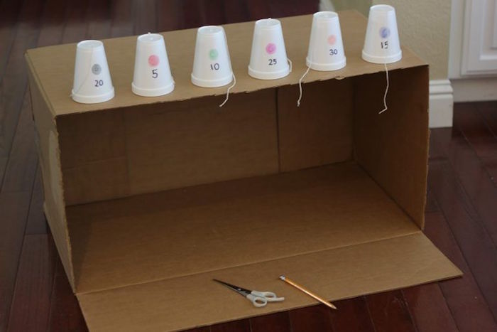 art and craft ideas for kids large carton box six styrofoam cups placed on top with numbers scissors and pencil