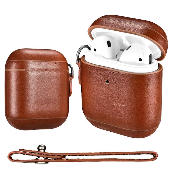 best gifts for dad brown leather case for earpods case side by side photos open and closed on white background
