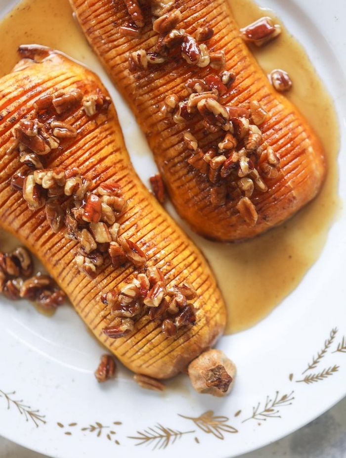 best thanksgiving sides roasted butternut squash with walnuts cinnamon honey placed on white plate