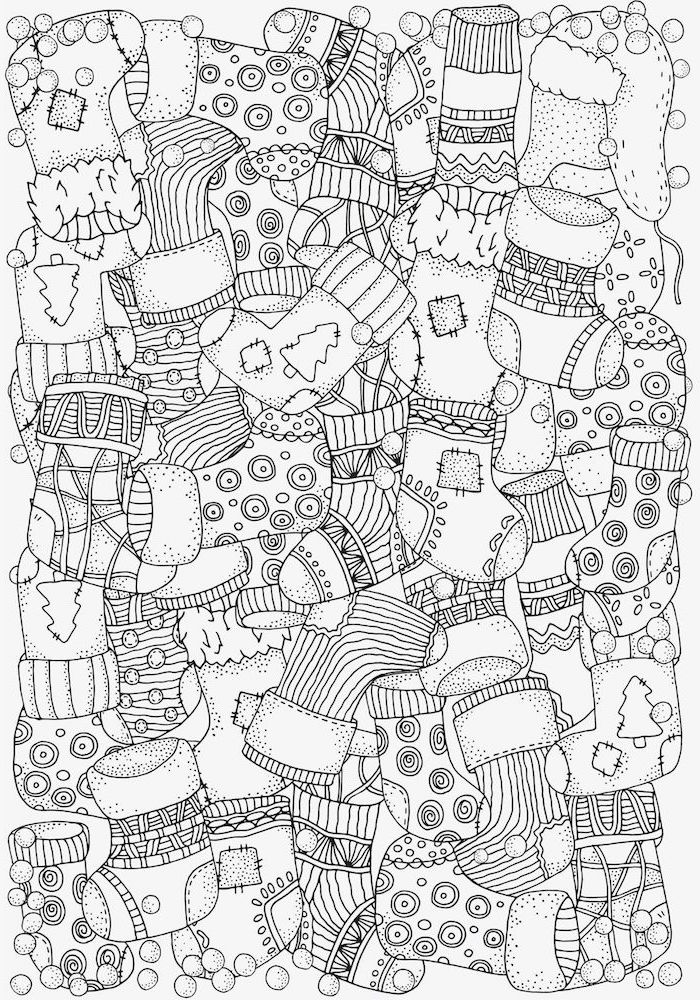 black and white drawing of lots of different stockings with different prints coloring pages for kids white background