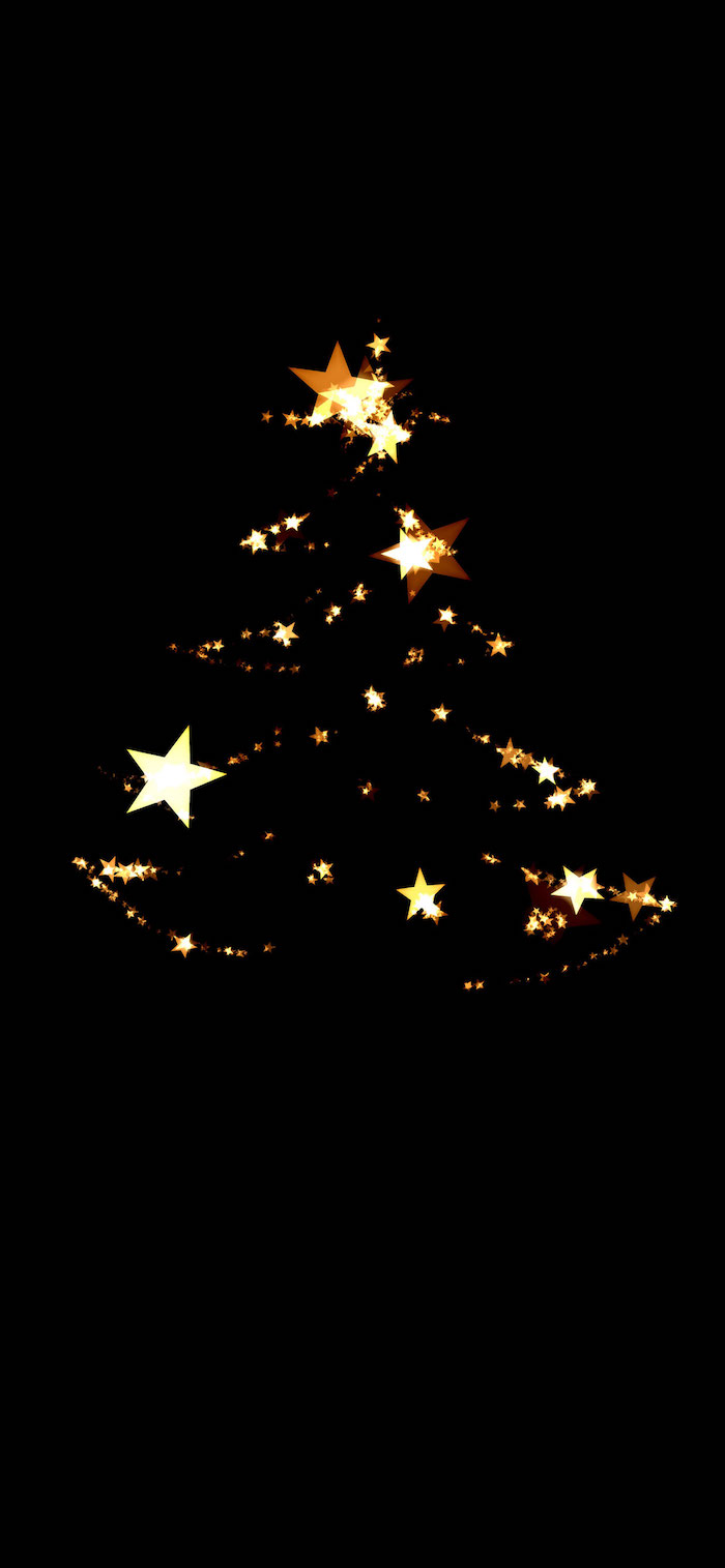 black background christmas wallpaper computer christmas tree outline made with gold stars