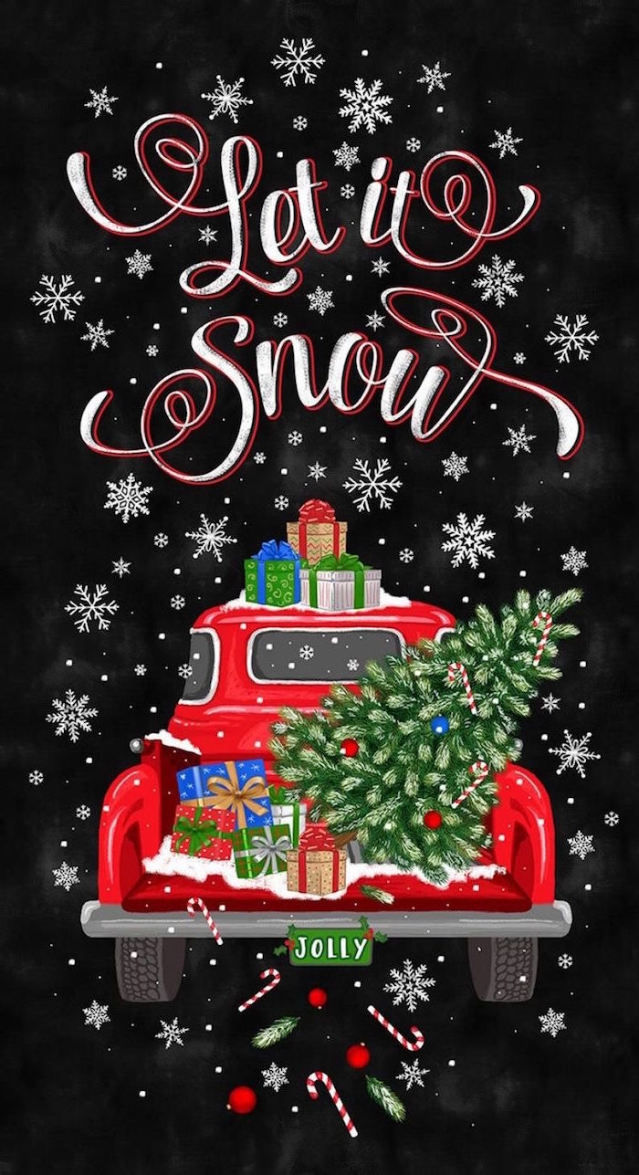 black background merry christmas wallpaper let it snow written over drawing of red truck carrying presents christmas tree