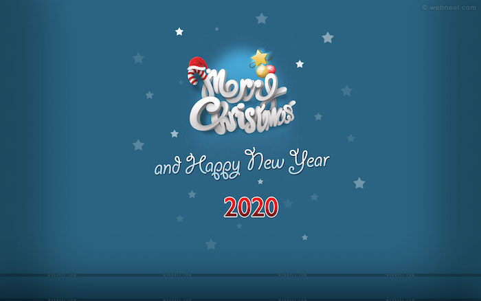 blue background cute christmas wallpaper merry christmas and happy new year 2020 written on it